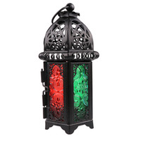 linternas votivas al por mayor-Caliente estilo marroquí clásico titular de la vela 8.3 * 7.2 * 16.5CM Votive hierro candelabro de vidrio vela linterna hogar decoración de la boda