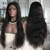 pelucas indias vírgenes de 12 pulgadas al por mayor-22 pulgadas de color ntural completo con técnica de peluca de encaje y material de cabello humano pelucas de encaje 180% densidad Indian Virgin Hair Lace Front Wigs