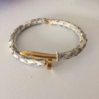 Wholesale Pythons Snakes - Luxury jewelry python Bracelet Women men cuff love nail snake leather bangle bracelet for women and men