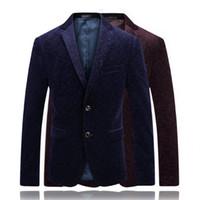 koyu mavi kadifeli toptan satış-2018 Adam Giyim Kadife Blazer Masculino Slim Fit Erkek Casual Takım Elbise Ceketler Erkekler Örgün Africain Parti Blazer Koyu Kırmızı / Mavi