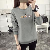 Wholesale winter sweatshirt korean fashion online – oversize Fashion Kawaii Harajuku Women Hoodies Cat Sweatshirt Female Winter Warm Fleece Korean Sweatshirt Long Sleeve Jumpers New Pullovers