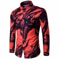 hand-malerei hemden groihandel-Neue Männer Marke Shirt Männer Hand bemalt Splash-Tinte Langarm männlich Casual Männer Shirt