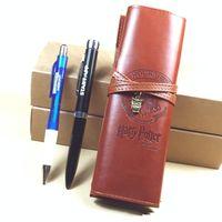 Wholesale pens leather for sale - Group buy Harry Potter Hogwarts Leather Pen Bag Hogwarts School Pencil Bag cm Action Figures Purse Bag Novelty Items OOA5509