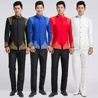 traditioneller kleidermann großhandel-Chinesische Art bestickt Anzug männlich Tang Anzug Kostüm professionelle formal Show Host Kleid traditionellen chinesischen Tunika Männer Trainingsanzüge