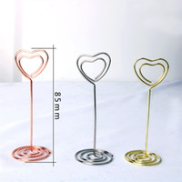 Wholesale Wedding Table Place Cards - Creative Heart Shape Place Card Holders Wedding Party Favor Table Decoration Number Holder Metal Love Photo Seat Clips Hot Sale 1 3zq YY