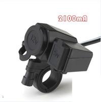 легкие телефоны оптовых-USB Водонепроницаемый разъем Мотоцикл Мотоцикл Мобильный телефон Зарядное устройство 12V Прикуриватель USB 5V 2.1A