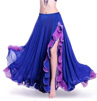 faldas de gasa indio al por mayor-Rojo Verde Dancewear Ropa de danza del vientre profesional Flamenco Indian Gypsy Falda de gasa dividida sexy Práctica oriental Falda de danza del vientre