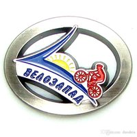 Wholesale medals brooch - 45mm x 35mm Oval Casting Fine Polished Antique Burnished Silver Alloy Riding Club Medal Enamel Cavity. Russia Kaliningrad