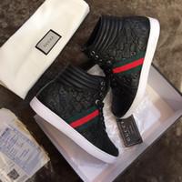 altos de cuero para hombre al por mayor-Luxury Branded Ace Signature Sneaker para hombre High Top Ace Sneakers Moda Zapatillas de cuero reales para hombres Diseñador Casual Zapatos de skateboard Box
