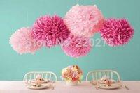 ingrosso bouquet di fiori di carta tissue-Matrimoni Pompoms Ball Spring Tissue Paper Pom Poms Flower Party Colori Matrimoni Decorazioni di compleanno Baby Shower Ghirlande 10pcs / Lot