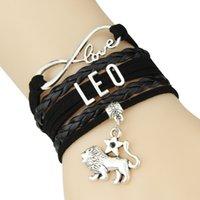 herz gewebte legierung großhandel-Unendlichkeits-Liebes-Konstellations-Herz-Anhänger-Manschette Armband-mehrschichtiges geflochtenes gesponnenes Unisexcharme-Legierungs-Horoskop-Armband-Armband