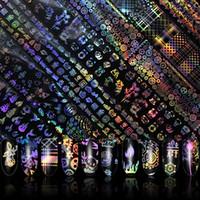 желтые золотые гвозди оптовых-4*100cm/Roll Holographic Nail Foil Flame Dandelion Panda Bamboo Holo Nail Art Transfer Sticker Water Slide Art Decals