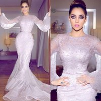 Wholesale vintage gold fashion pearl resale online - 2019 Newest Arabic Mermaid Formal Dresses Evening Wear Long Sleeve Full Lace Pearls Prom Gowns Plus Size Prom Dresses Long