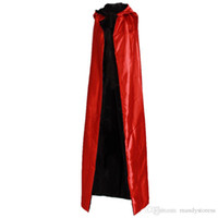 ingrosso yu gi oh all'ingrosso-Halloween Nero Rosso Costume cosplay Teatro Prop Morte Felpa con cappuccio Mantello Diavolo Mantello AB Da indossare Lungo Tippet Adulto Cappuccio con cappuccio