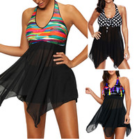 Wholesale Tankini Swimwear Shorts - 2017 Sexy Women Dress Swimwear Swimsuits Two Pieces Separate Bathing suit Lace Tankini Dress Top With Short Bottom Plus Size M~5XL