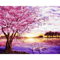 Wholesale Cherry Blossom Panel - Pictures By Number On Canvas Pink Cherry Blossoms Wall Art Canvas Paintings DIY Painting By Numbers Poster