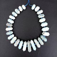 ingrosso blu guarisce-8SE11272 Perla con pendente a focale in cristallo blu con pietra a doppia punta