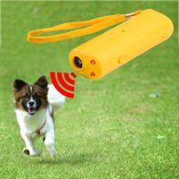 köpek kontrol cihazı toptan satış-3 in 1 Anti Barking Dur Bark Köpek Eğitim LED Ultrasonik Anti Bark Barking Köpek Eğitim Kovucu Kontrol Eğitmeni Cihazı Yeni