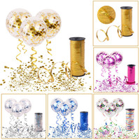 Wholesale wedding balloon ribbon - Clear Confetti Filled Helium Balloons With 100Y Curling Ribbon Set Wedding Engagement Event Balloons Happy Birthday Party Scene Decoration