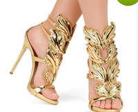 Wholesale strappy purple shoes - Hot Sale Golden Metal Wings Leaf Strappy Dress Sandal Silver Gold Red Gladiator High Heels Shoes Women Metallic Winged Sandals