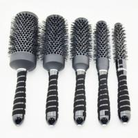 Wholesale nano ceramic hair online - Hot saling Nano ceramic hair brush in black color ionic round brush in Nano technology price for i set