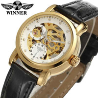 women gold mechanical watches 2018 - WINNER Women Watch Automatic Mechanical Lady Watches Top Brand Luxury Classic Fashion Leather Band Skeleton Female Clock 0168