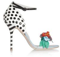 femmes sandales à pois achat en gros de-Sexy Stéréo Fleurs Polka Dot Patchwork En Cuir Cheville Strap Sandales Femmes Stripe Stiletto Haut Talons D'été Pompes pour Dames