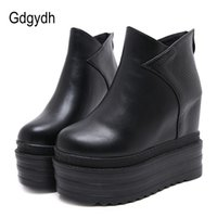 Discount back zipper boot - wholesale Female Platform Wedges Boots Black Autumn Ankle Boots For Women High Heels Ladies Leather Shoes Back Zipper Free Shipping