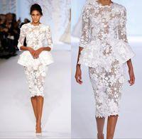 elie saab gris largo vestido al por mayor-2018 vestidos blancos cóctel de manga larga Elie Saab corto baile de graduación de encaje Floral de alta costura Ralph Russo envoltura de peplum vestidos formales BA7605