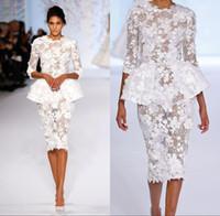 weiße spitze haute couture dressing großhandel-2018 weiße Kleider Cocktail Wear Langarm Elie Saab kurze Prom Lace Floral Haute Couture Ralph Russo Peplum Mantel formale Kleider BA7605