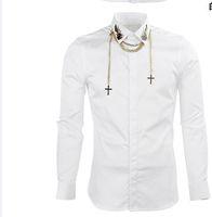 şık tasarım gömlek toptan satış-Ücretsiz Kargo 2018 Yeni Varış Bahar Moda Metal Kanatları Asılı Zincir Tarzı Ünlü Tasarım Mens Iş Uzun kollu Rahat Gömlek