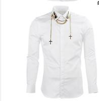 camisa elegante do projeto venda por atacado-Frete Grátis 2018 New Arrival Moda Primavera Asas de Metal Pendurado Cadeia Estilo Famoso Projeto Dos Homens de Negócios de Manga Longa Camisa Ocasional