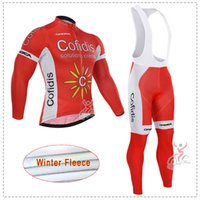 Wholesale thermal suits for winter - ropa ciclismo Thermal fleece for winter Cofidis cycling jersey suit mtb bike bicycle clothing bicicleta clothes 3D gel pad BIB sets M2103