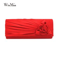 Wholesale Diamond Roses Silk - Ladies Cheap Hot Casual Clutch Purse Chain Handbags Women Evening party Bag Bride Wedding handbag silk rose clutch bolsas mujer