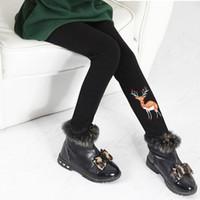 calças de lã padronizadas venda por atacado-Muito quente!!! Novas Calças de Inverno Velo Leggings para Meninas de Algodão Grosso Patterned Bebê Quente Térmica Preto Rosa Crianças Calças 3-8 T