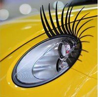 Wholesale 1 Pair Fashion Cute Car Styling Stickers Black Eyelashes Vehicle Headlight Decorative Sticker On Car