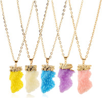 Wholesale triangle gem - Chain Necklace Geometric Colorful Nature Stone Triangle Crystal Gems Stones Pendant Necklaces For Women Men plated gold necklace