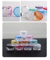 h crema al por mayor-100pcs / lot 3g tarros de crema, tapones de rosca, embotellado del maquillaje plástico transparente, envase cosmético vacío, pequeño recipiente de la máscara de la muestra H-02