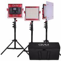 kits de iluminación de video al por mayor-GVM Kit de iluminación para fotografía Dimmable 2300K-6800K Pantalla digital CRI97 LED Luz de video para YouTube Studio Outdoor Entrevista