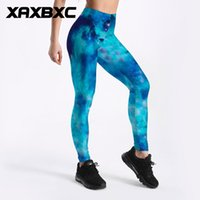 Wholesale galaxy girls pant - C3659 Girl Nebula Galaxy Blue Cloud Prints Elastic Slim GYM Fitness Women Sport Leggings Yoga Pants Trousers Plus Size