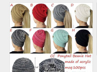 Wholesale printing chemicals online - designer hats caps womens Ponytail Beanie Hats Women Crochet Knit Cap Winter Skullies Beanies Warm Caps Female Knitted Stylish Hat