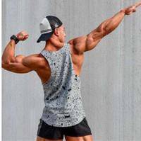 camisetas negras sin mangas para hombre al por mayor-YEMEKE Tank Tops Chaleco sin mangas TOP Camiseta casual fitness Hombre casual print Culturismo Rojo gris negro