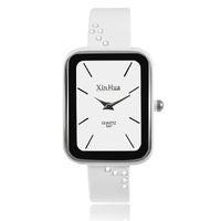 rhinestones de reloj de pulsera blanco al por mayor-2017 Xinhua Moda Rectángulo Caja Pulsera Relojes Mujeres Rhinestone Crystal Relojes de pulsera Calma Blanco y Negro para los negocios