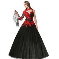 ingrosso abiti da sposa bianchi neri in vendita-Abito da sposa vintage gotico nero e rosso a-line 2018 con maniche lunghe abito da sposa con perline lunghezza in rilievo non bianco