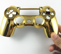 Wholesale console housing resale online - hot sale Golden Plating faceplate shell Front Housing shell R1 L1 Key Holder Internal Support Stand Frame for PS4 Controller DualShock
