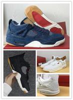 Wholesale jeans cut man - 4 denim NRG Blue Black White Jeans Basketball Shoes with original box 4s denim Travis Jeans Sports Shoes sneaker shoes free shipping