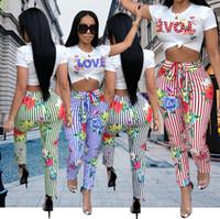 tulumlar çizgili pantolon toptan satış-2018 Kadınlar Yüksek Moda Iki Parçalı Setleri Yaz Çizgili AŞK Baskılı Tulum Pantolon Sıska Pantolon ile Tops