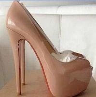 parti ayakkabıları boyutu 34 toptan satış-Kutu + toz torbası moda marka kırmızı alt yüksek topuklu seksi burnu platformu kırmızı taban ayakkabı kadın pompaları 16cm yüksek- topuklu parti ayakkabı boyutu 34-45