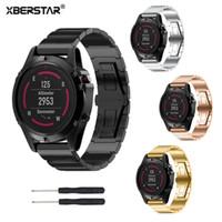 Wholesale Gps Garmin - XBERSTAR Strap Watchband for Garmin Fenix 5X Multisport GPS Training Watch Stainless Steel Watch Band Bracelet Strap 4 Colors
