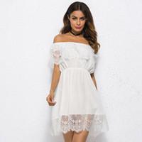 robes blanches élastiques achat en gros de-Épaule Femmes Robe Blanc Dentelle Creux De Streetwear Casual Robe Lâche Taille Élastique Robe D'été Robe Femme robes 2019